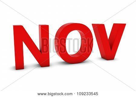 NOV Red 3D Text - November Month Abbreviation on White poster