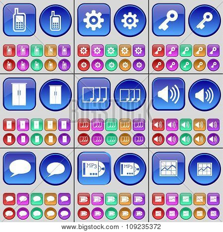 Monitor, Gear, Key, Cupboard, Files, Sound, Chat Bubble, Mp3, Graph. A Large Set Of Multi-colored