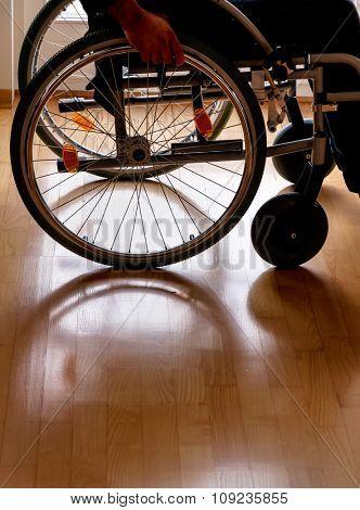 a man sitting in a wheelchair.