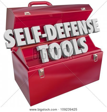Self-Defense words in 3d letters in a red metal toolbox to illustrate protecting yourself from crime, attack or assault