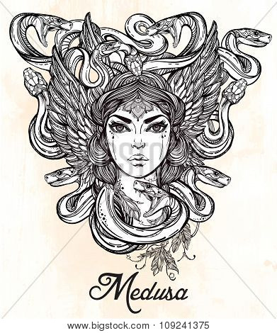 Mythological Medusa portriat illustration.