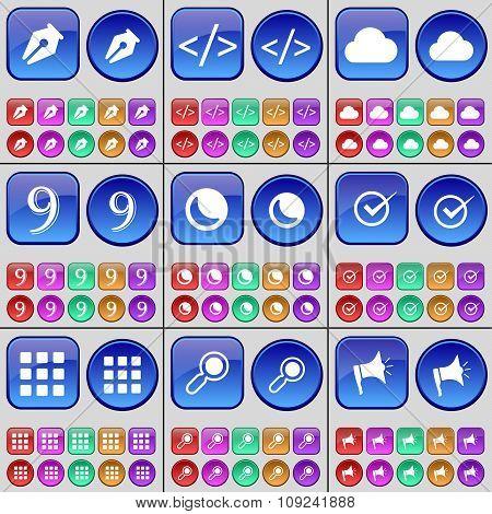 Ink Pen, Code, Cloud, Nine, Moon, Tick, Apps, Magnifying Glass, Megaphone. A Large Set Of Multi-