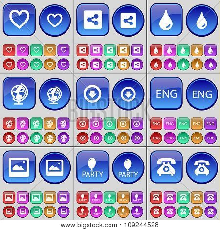 Heart, Share, Drop, Globe, Arrow Down, Eng, Window, Party, Retro Phone. A Large Set Of Multi-