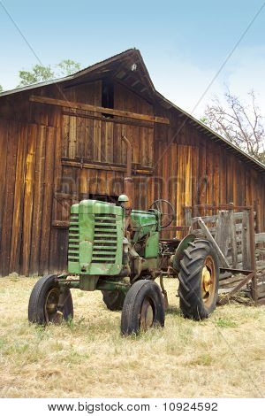 antique tractor and barn