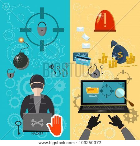 Hacker Activity Computer Bank Account Hacking E-mail Spam Viruses Banners