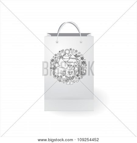Stock Vector Isolated Paper Shopping Bag With Winter Pattern On The White Background