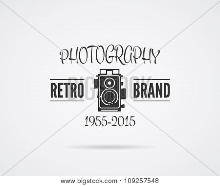 Vintage Photography Badge, Label. Monochrome design with stylish old camera. Retro style for photo s