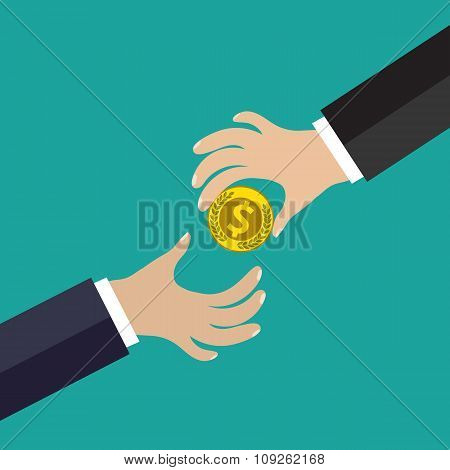 Buisness man hand give gold coin