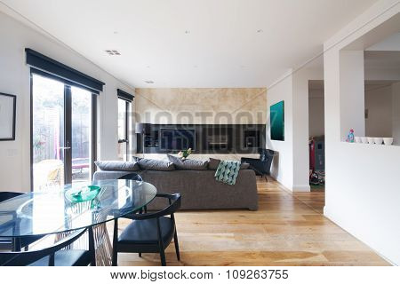 Modern Dining Table And Open Plan Living Room In Australia