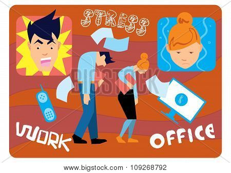 Overwork at office. Fatigue at work. Nervous breakdown. Office stress. Work stress in office. Hard work and overworked people. Depression at work. Stressed people. Anxiety jobs. Abstract concept of stress work. Nervous people. Office life.