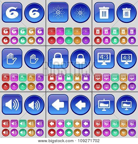 Six, Star, Trash Can, Hand, Monitor, Sound, Arrow Left, Graph. A Large Set Of Multi-colored