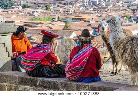 Old Ladies With Lamas In Cusco, Peru
