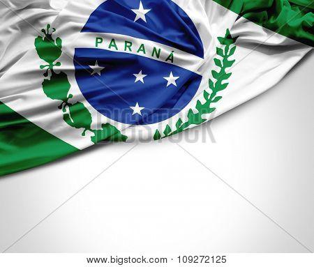 Parana waving flag on white background