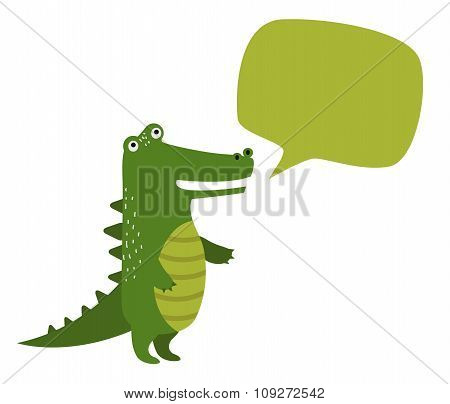 Vector cartoon rocodile holdingclean banner board