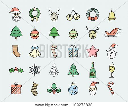 Christmas icon set. Linear colored vector icons dedicated to Merry Christmas and Happy New Year. Linear style