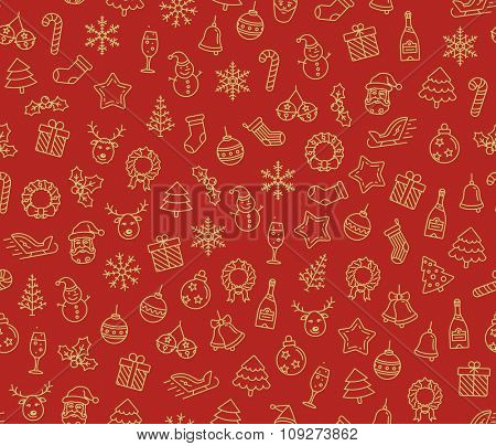 Merry Christmas and Happy New Year vector seamless pattern. Christmas symbols background. Vector seamless Illustration
