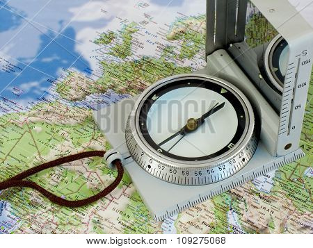 Navigate with compass. Map of europe and north africa