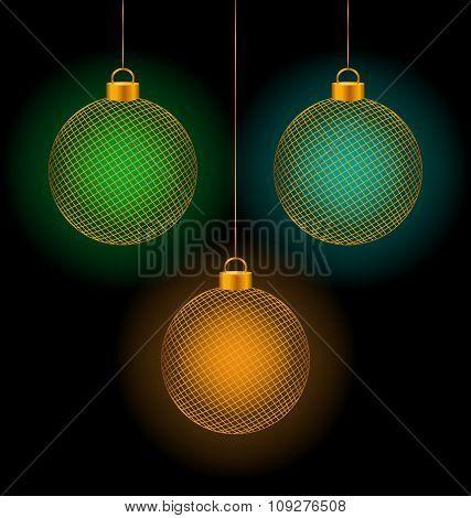 self-illuminated Christmas balls on black