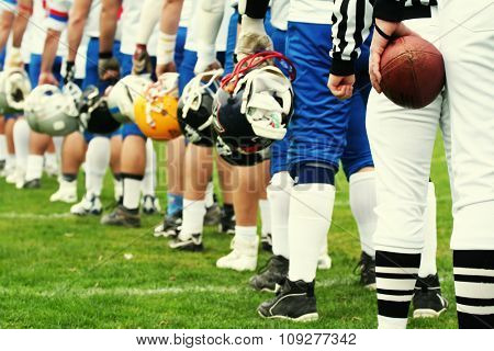American football equipment - helmet. Sport team concept. Football player boots