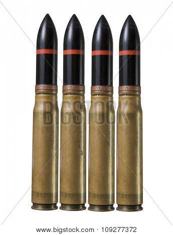 Big bullets in pistol bullet formation. War concept