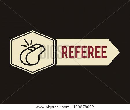 The whistle door tag, icon, label or badge. Referee symbol. Flat design. Can be use on sports sites,