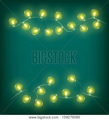 Christmas lights on cyan