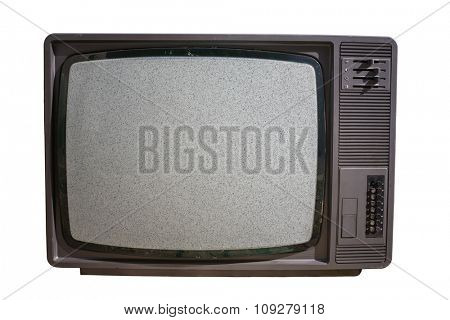 Old TV with noise on screen - No signal. Television and mass media concept. poster