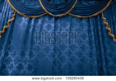 Blue theater curtain. Stage show presentation concept