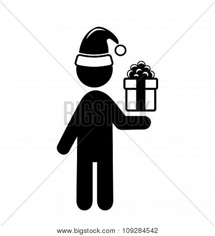 Christmas Shopping Man with Gift Box Flat Black Pictogram Icon I