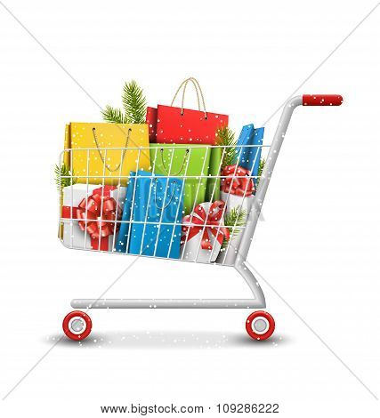 Christmas Winter Sale Shopping Cart with Bags Gift Boxes and Pin