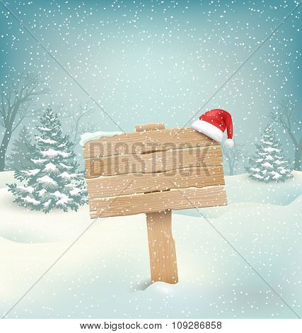 Winter Background with Wooden Signpost and Santa Hat