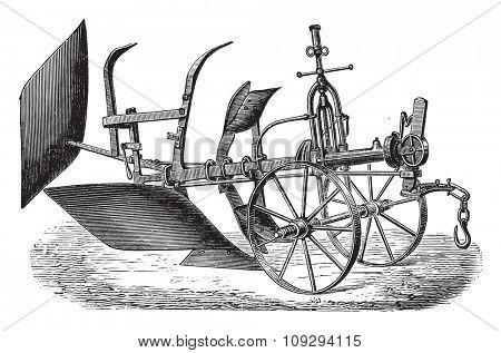 Double plough subsoiler of Bajac-Delahaye, vintage engraved illustration. Industrial encyclopedia E.-O. Lami - 1875.