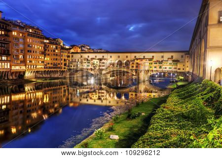 Ponte Vecchio bridge in Florence, Italy. Arno River at night. Tuscany poster