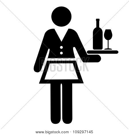 Waitress vector icon