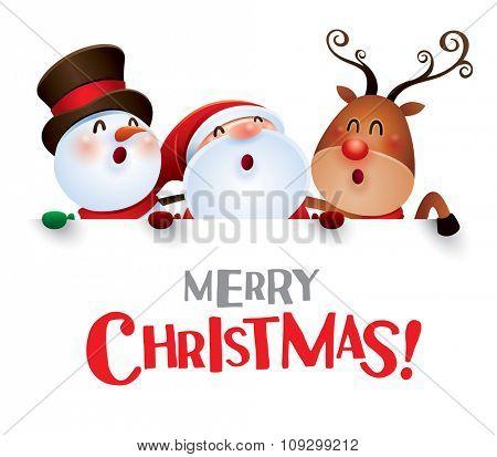 Merry Christmas! Happy Christmas companions with big sign.