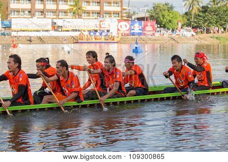 Thai Long Boats Compete During King's Cup Native Long Boat Race Championship