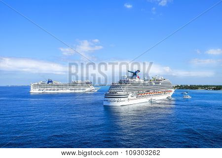 Georgetown, Grand Cayman - February  12, 2015:  Cruise Ships Sailing On The Caribbean Sea On A Sunny