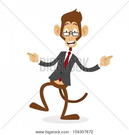 Cartoon monkey business man stress dancing. Business monkey isolated. Cartoon monkey dancing business life  illustration. Business office life concept. Monkey vector, monkey like people business
