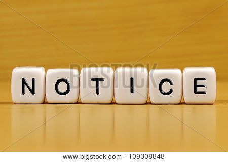 notice word concept written on white blocks. poster