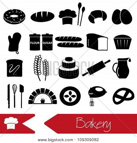 Simple Black Bakery Items Icons Set Eps10