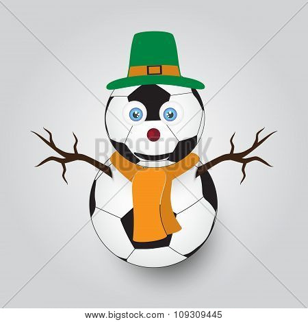 Isolated White Winter Happy Snowman From Football Balls Eps10
