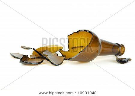 Shattered Brown Beer Bottle
