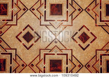 Linoleum With Brown Geometric Pattern