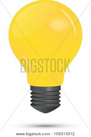 Yellow lightbulb on a white background