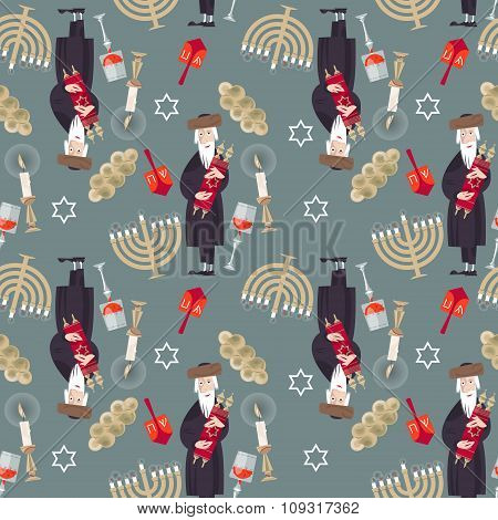 Jewish Tradition. Seamless Background Pattern With  Orthodox Jewish Man, Torah, Candles, Kiddush Cup