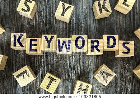 Wooden Blocks with the text: Keywords
