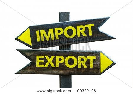 Import - Export signpost isolated on white background