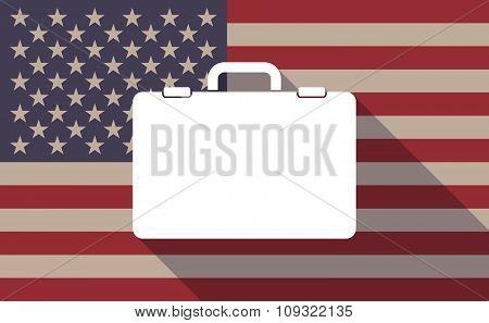 Long Shadow Vector Usa Flag Icon With  A Breiefcase