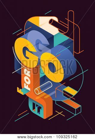 Isometric illustration with typography. Vector illustration.
