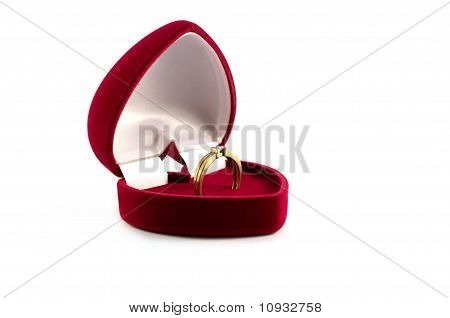 Ring In A Red Case Isolated Over White
